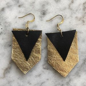 Gold & Black Recycled Leather Shapes Earrings